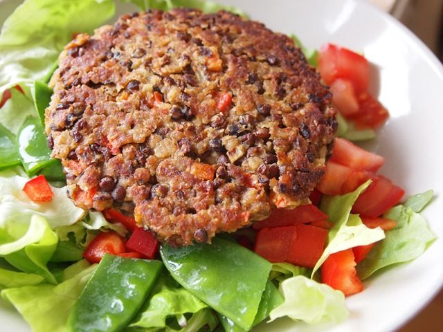 Lentil Veggie Burger - you can make this recipe vegan by using your favorite egg replacement such as: tofu, bananas, applesauce, potato starch, pureed prunes, pumpkin or squash, mashed potatoes, flax, etc...