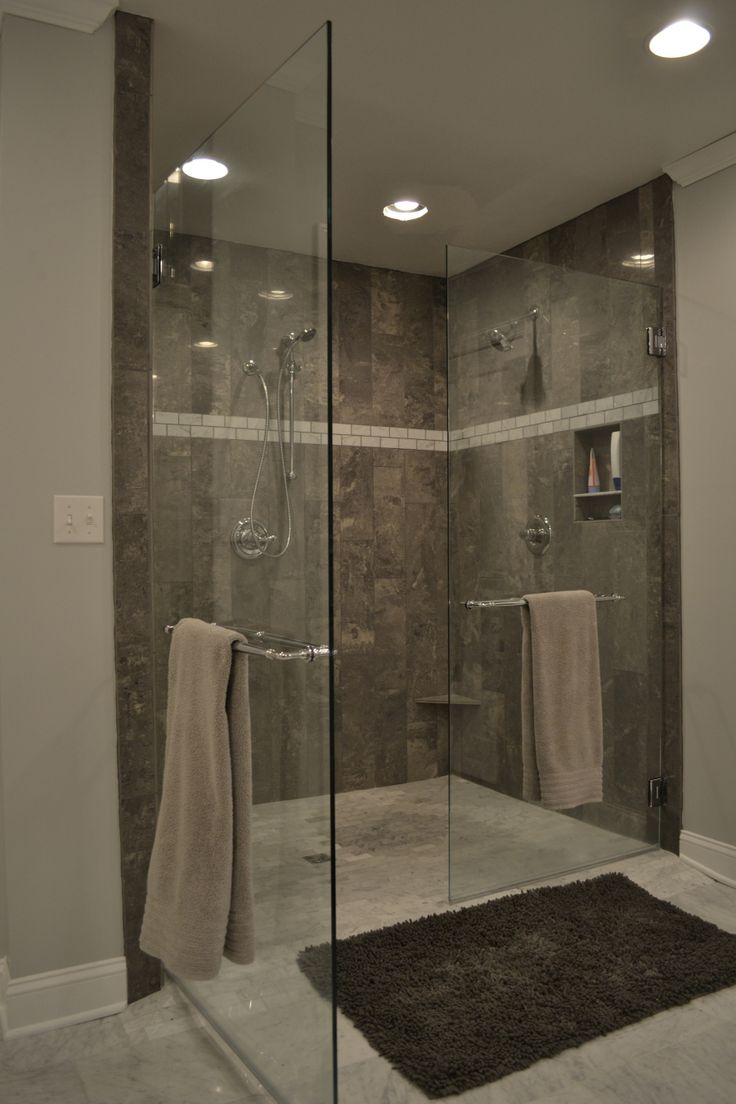 grey tile shower and marble Bath Ideas Pinterest