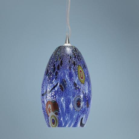 lbl monty 7 1 2 wide blue murano glass pendant light. Black Bedroom Furniture Sets. Home Design Ideas