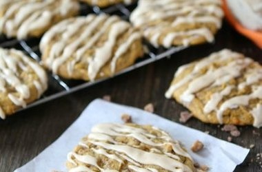 Pumpkin Toffee Cookies with Salted Caramel Glaze