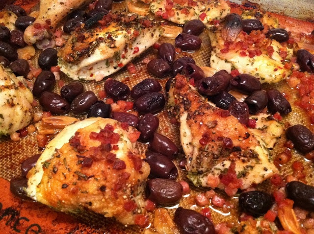 Roast Chicken with Pancetta and Olives from Westdale Drive