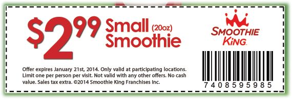 Smoothie king coupons dec 2018