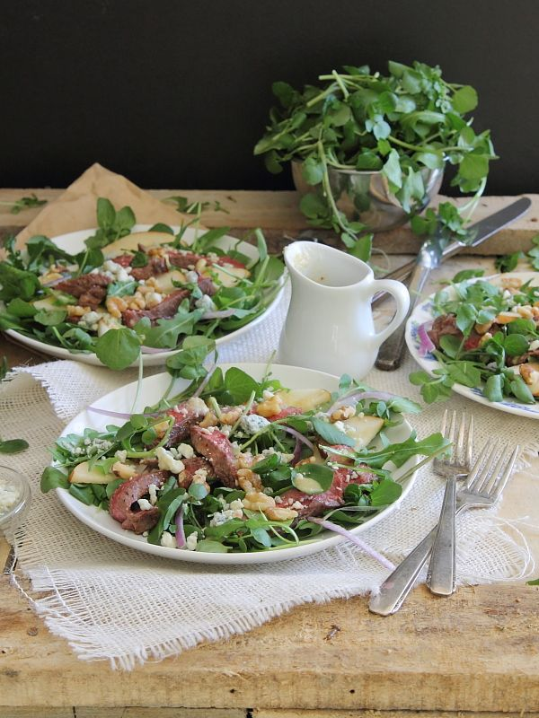 Steak, pear and watercress salad | Recipe