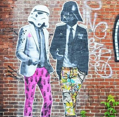 Street art Star Wars edition with a storm trooper and Darth Vader himself