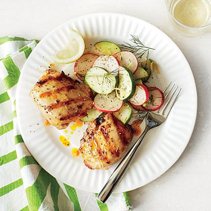Spicy Grilled Chicken Thighs with Cucumber-Radish Salad by Coastal ...