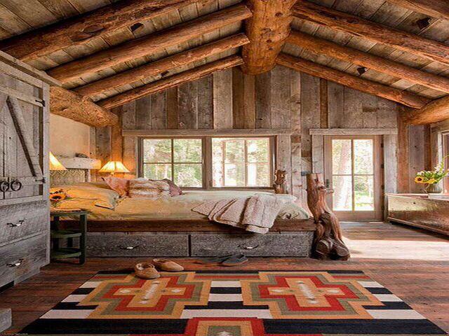 log cabin bedroom dream home pinterest