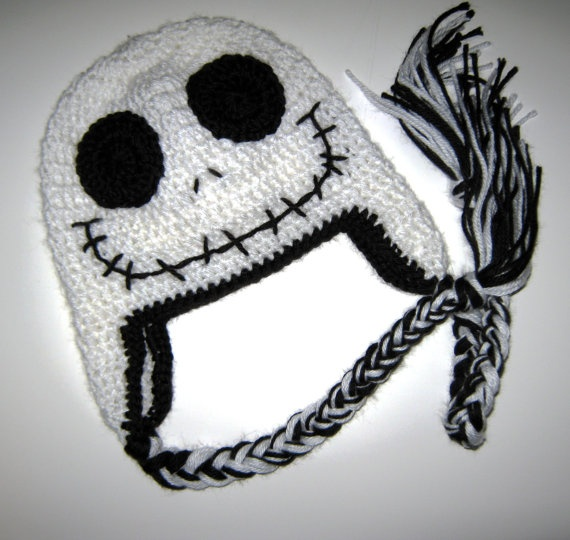 Crochet Jack Skellington : Crochet Skull Halloween hat with Ear Flaps 6 to by JessikiReeve, $17 ...