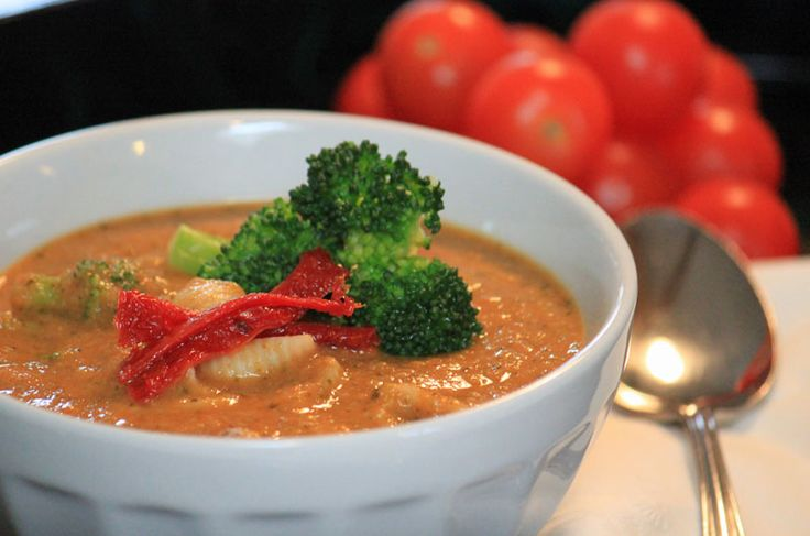 Cream of Broccoli Soup with Tomatoes and Whole Wheat Pasta | All ...