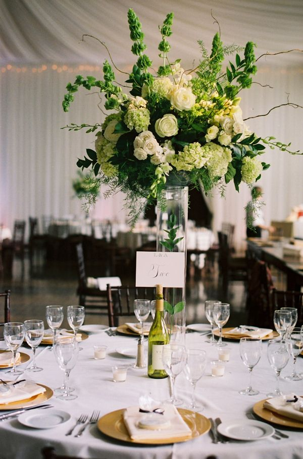 Tall white and green wedding centerpiece