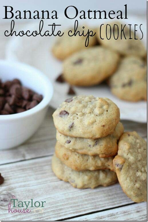 Banana oatmeal chocolate chip cookies | Cookies | Pinterest