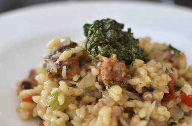 hoppin' john risotto with collard pesto | foodyumyum | Pinterest