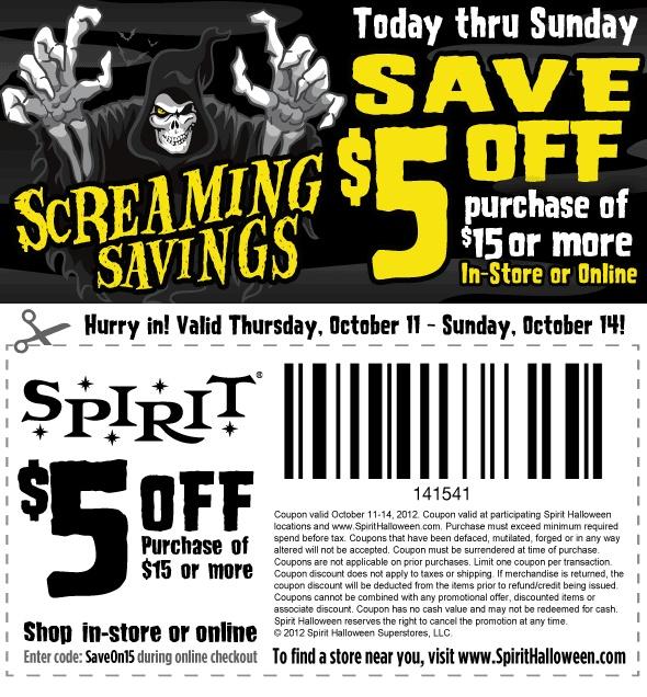 Spirit halloween coupon 2018