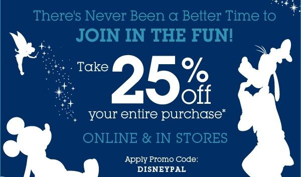 Disney Store: 25% PrintableCoupon -