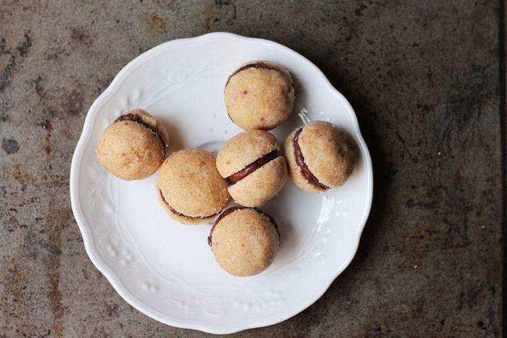 "Baci di Dama, ""lades' kisses"" - chocolate-filled hazelnut cooki..."