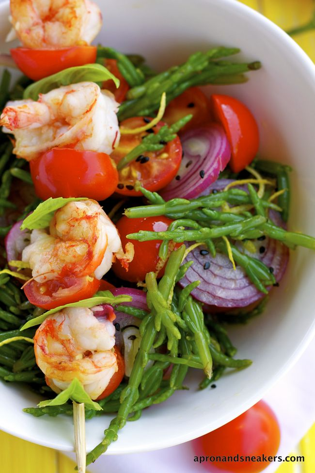 Sea Asparagus Salad with Grilled Shrimp Skewers from @Rowena Dumlao ...