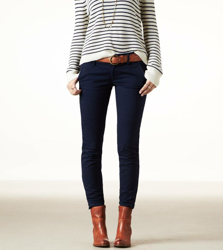 Striped sweater + dark skinnies + cognac boots