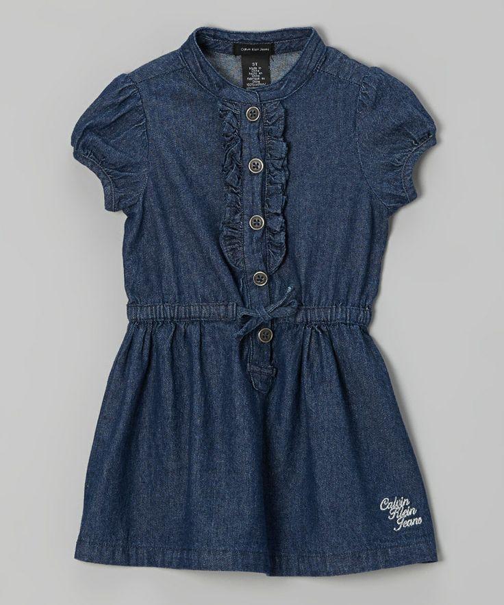 dark blue ruffle denim shirt dress toddler girls