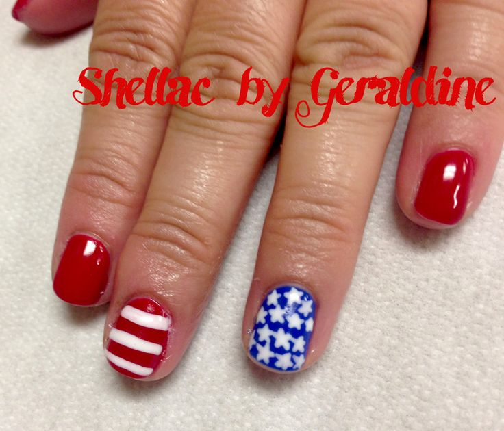 4th of July nails red white and blue shellac nails Stars and Stripes