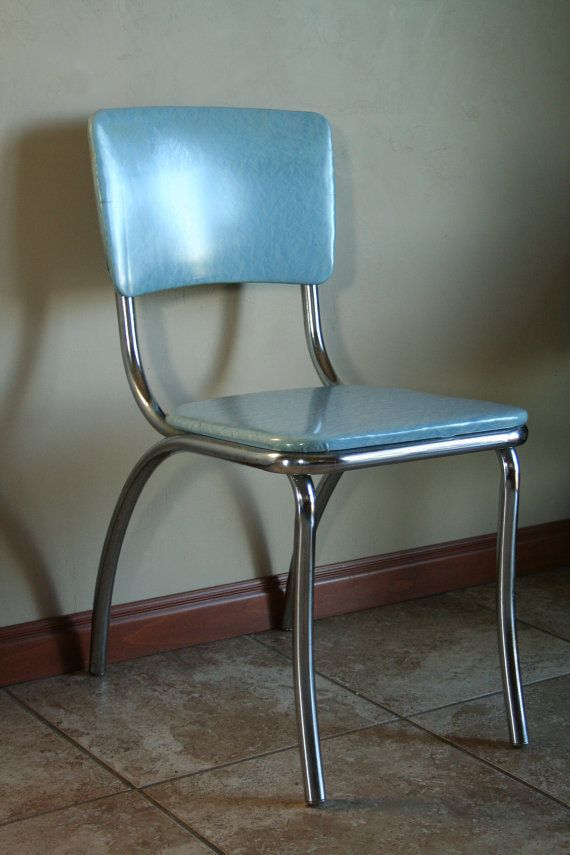 Retro Light Blue Vinyl Kitchen Desk Chair Mid Century