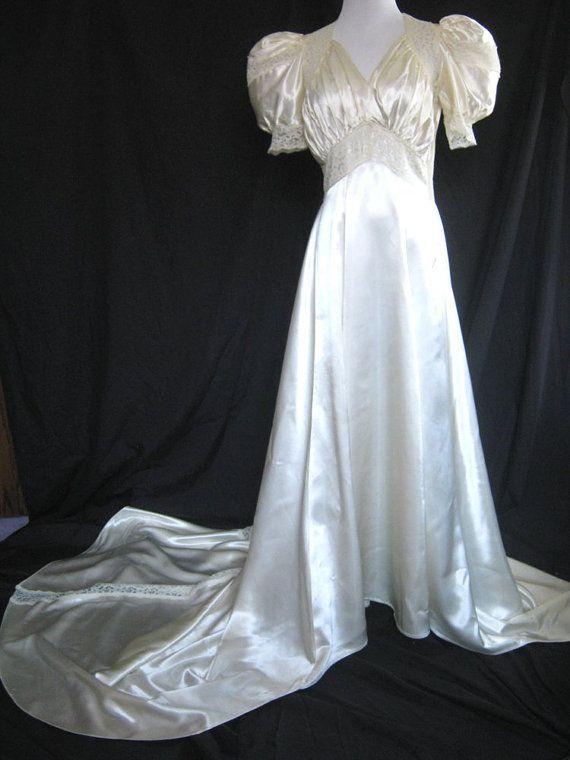 Vintage satin wedding dress 1930s slipper satin for Slipper satin wedding dress