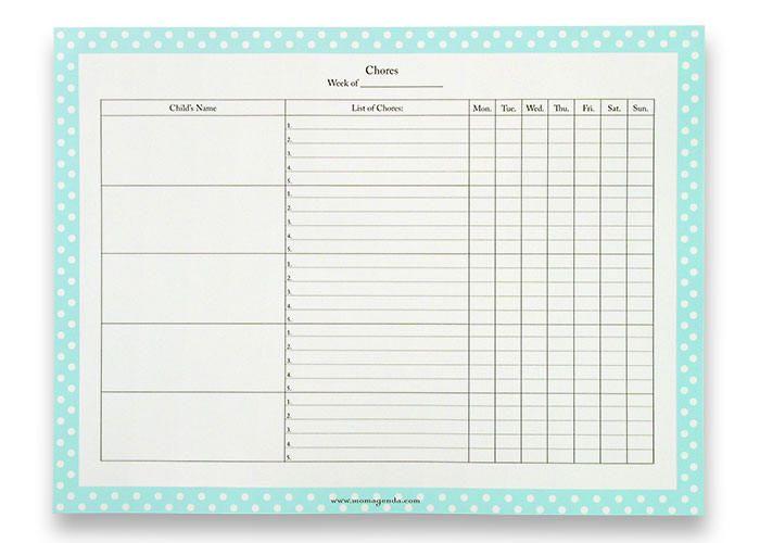 daily chore chart template datariouruguay