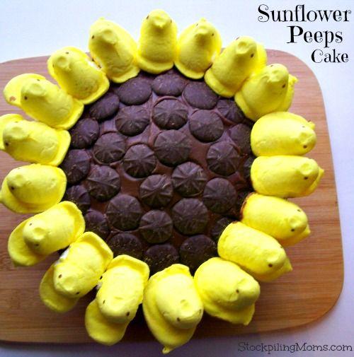 Sunflower Peeps Cake - perfect for Easter or Spring  http://www.stockpilingmoms.com/2013/03/sunflower-peeps-cake/