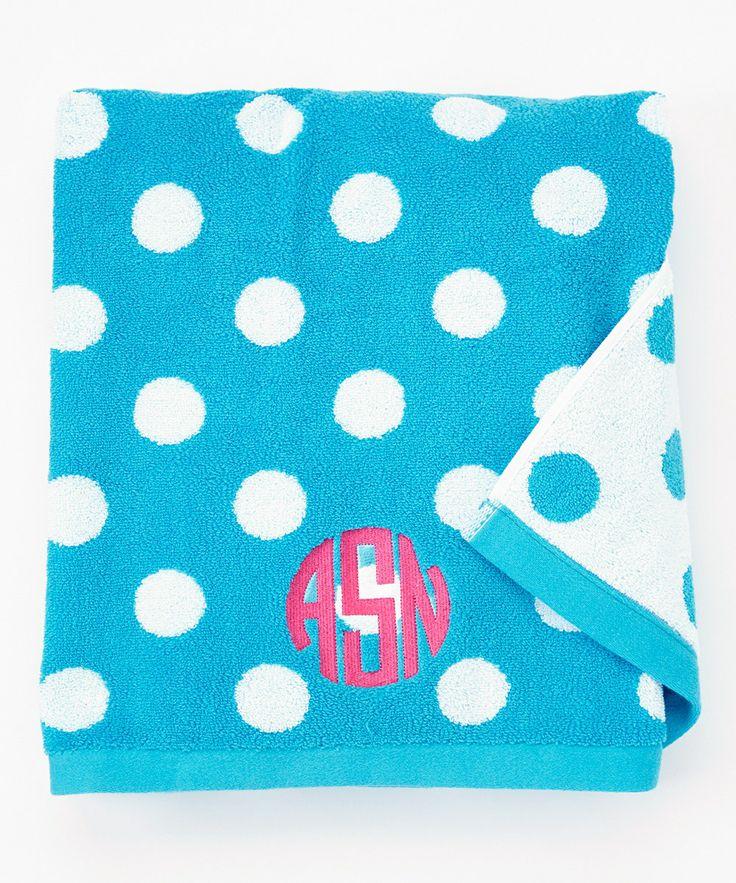 Aqua Polka Dot Monogram Beach Towel