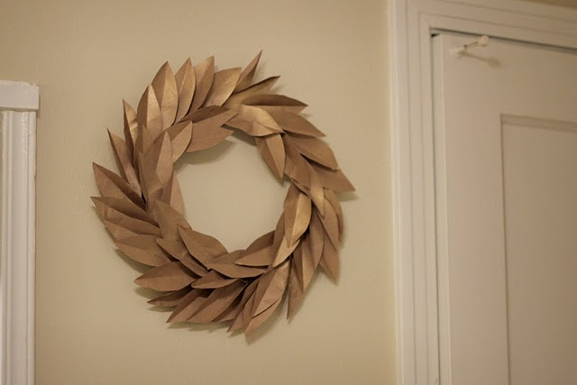 Wreath made with brown paper bags
