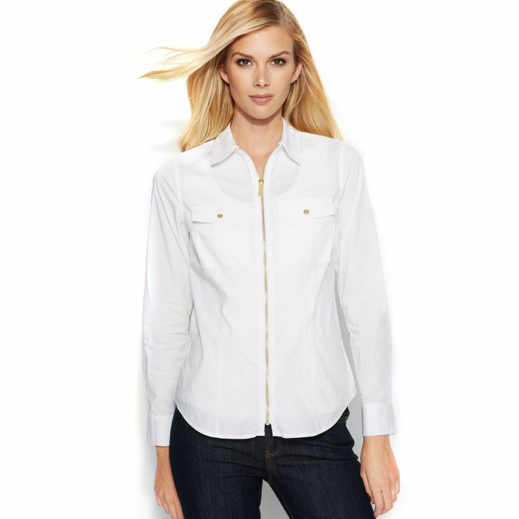 Zip Up White Blouse 89