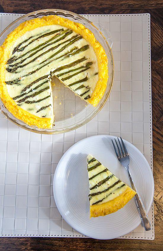 Polenta-Crusted Asparagus and Feta Quiche (Vegetarian! Gluten-Free ...
