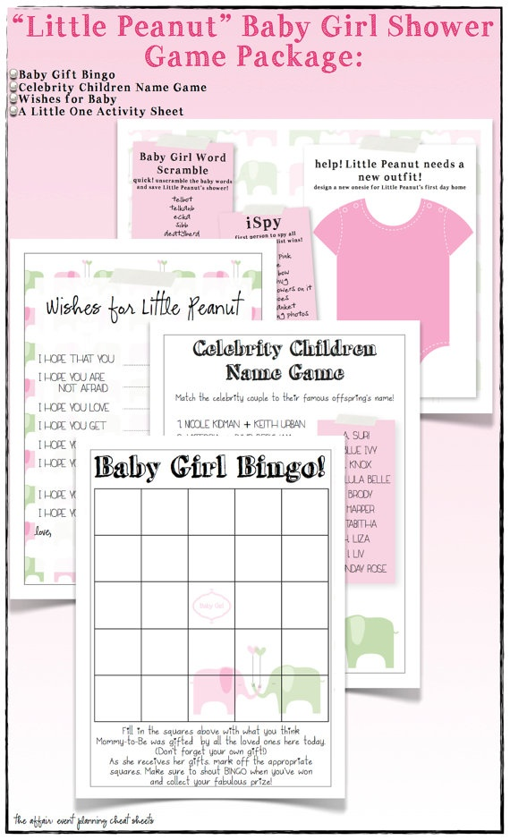 little peanut baby girl shower games package diy by theaffairshop 12