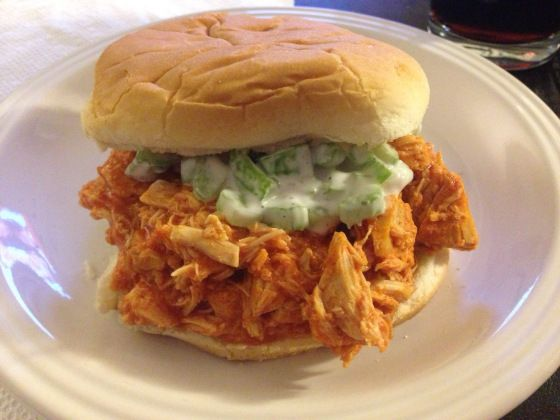 slow cooker buffalo chicken sandwiches | To Eat | Pinterest