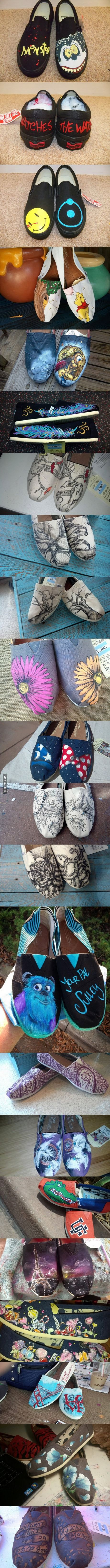 This girl paints shoes super talented plus i love her disney shoes