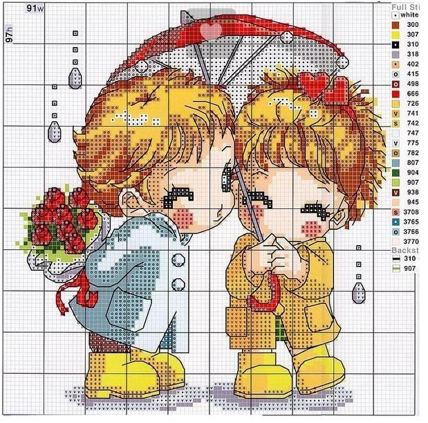 bimbi con ombrello