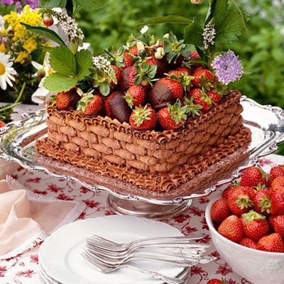 Chocolate-Strawberry Basket Cake. | Easter | Pinterest