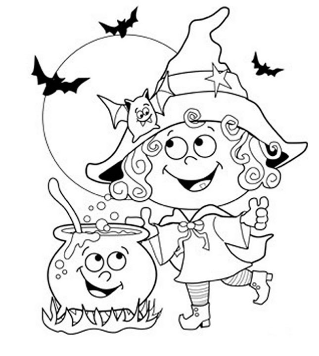 Halloween Friendly Witch Coloring Page
