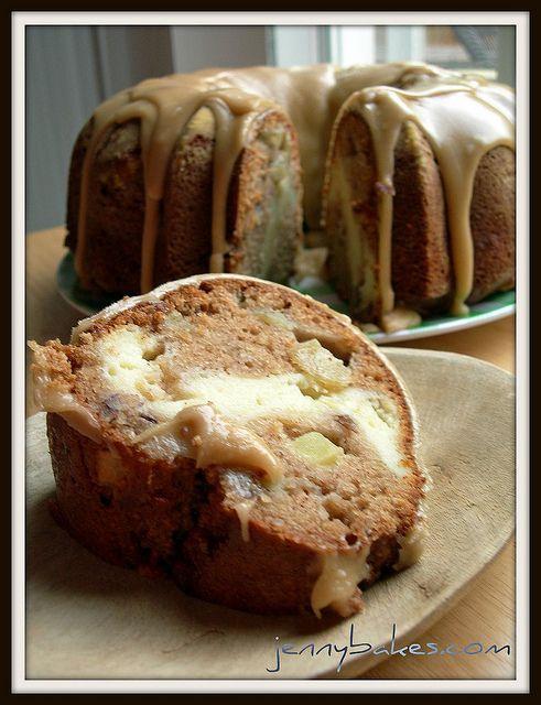Apple-Cream Cheese Bundt Cake with Praline Glaze.