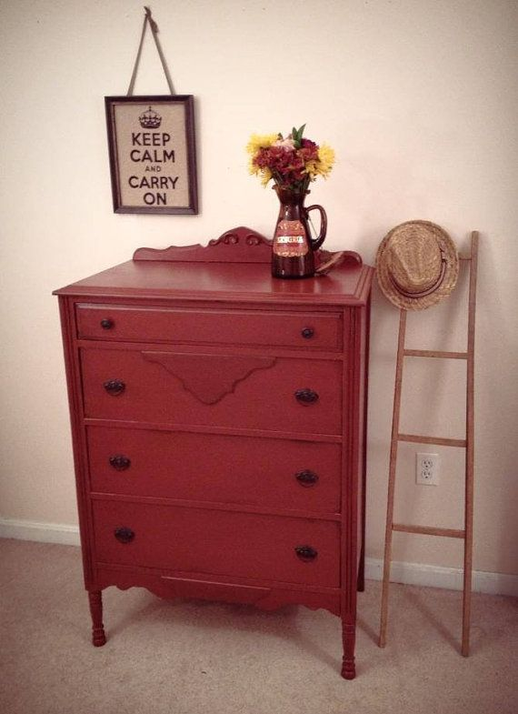Antique Red Farmhouse Dresser With 4 Drawers Painted