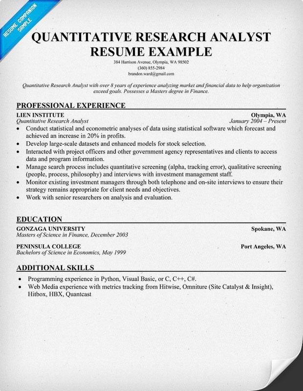 quantitative research analyst resume sles across all