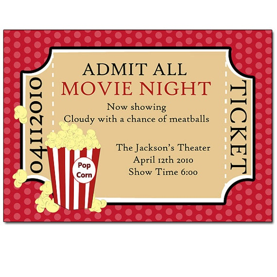 movie ticket invitation | Party Ideas | Pinterest