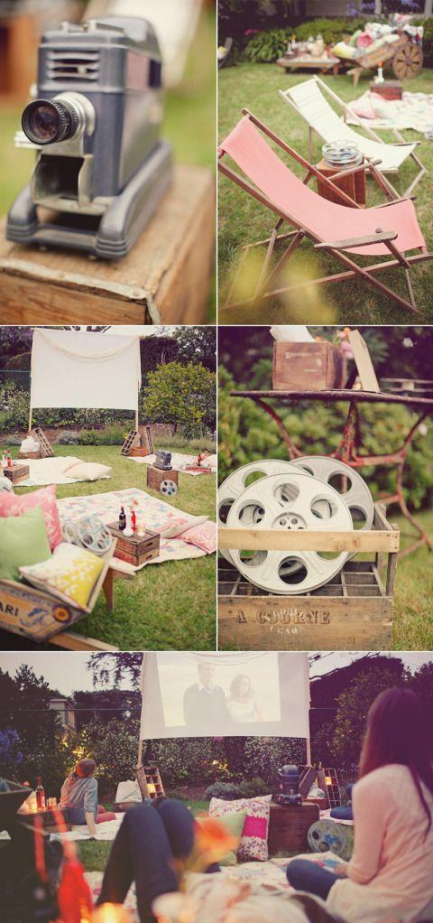 Backyard Movie Night Party : More backyard movie night ideas!  Dinner Parties  Pinterest
