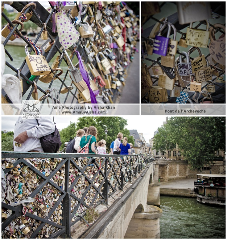 The Pont de l'Archevêché in Paris, France aka The Archbishop's Bridge. Couples write their names on padlocks, lock them to a bridge over the river, and throw the key in the river, signifying that their love will last forever.