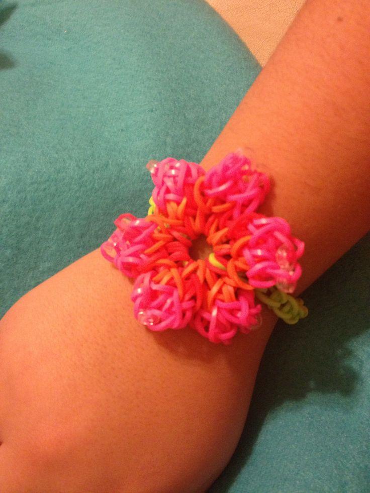 rainbow loom hibiscus pattern bracelet rainbow loom