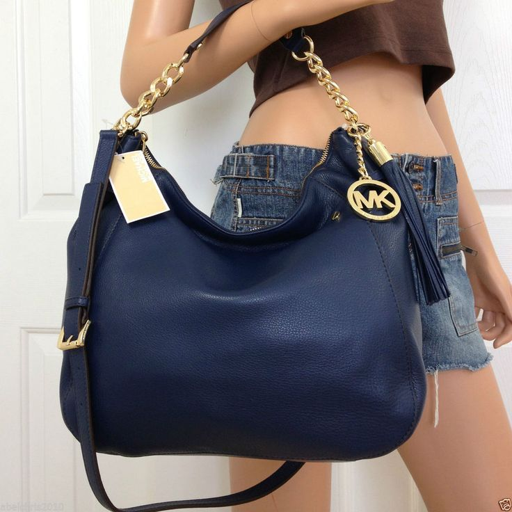 NWT MICHAEL KORS LARGE NAVY BLUE CROSSBODY SHOULDER LEATHER BAG PURSE ...