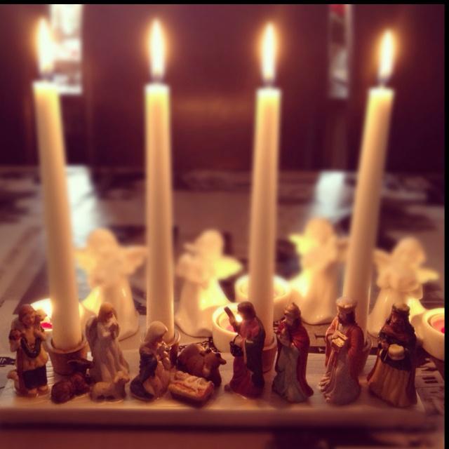 Candles in nativity scene | Christmas in Sweden | Pinterest