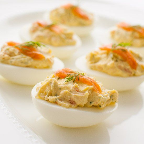... deviled eggs with the addition of smoked salmon, dill, and lemon juice