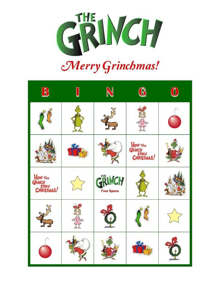 Dr Seuss' The Grinch Who Stole Christmas Personalized Party Bingo Game ...