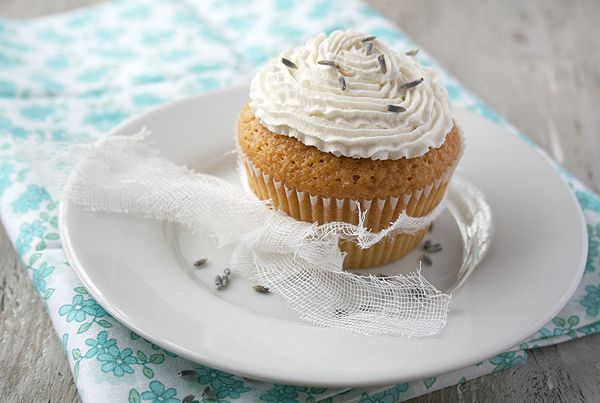 ... meyer lemon and olive oil cupcake with lavender whipped cream icing