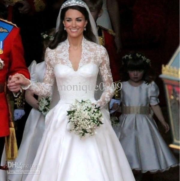 ... Design Royal Satin Long sleeves Lace Kate Middleton Wedding Dress
