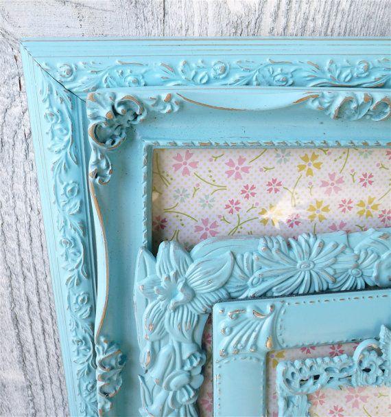 Shabby chic frames teal aqua set of 5 medium to large - Telas shabby chic ...